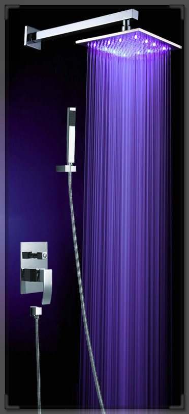 New LED Light Square Rain Shower Head Bathroom Bath Glow 3 Colors BR 8805 Bas
