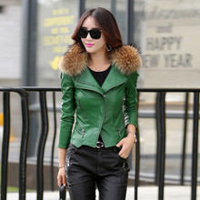 leather jacket women slim short design motorcycle leather jackets spring autumn and winter Really raccoon fur collar size M-5XL(China (Mainland))
