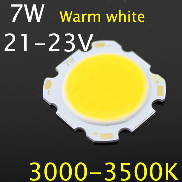 5Pcs/lot New 7W 3000-3500K COB Roundness Led Light Bulb Lamp Bead Chips Warm White for DIY Lightings Wholesales(China (Mainland))
