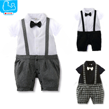 Baby Boys Romper Bow Tie Gentleman Summer Baby Boys Clothes Kids Clothing Set Baby Body Suits