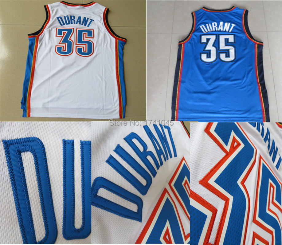 Free Shipping Cheap Oklahoma City Kevin Durant Mens Basketball Jerseys In White Blue High Quality Embroidery Logos Size S-XXL(China (Mainland))