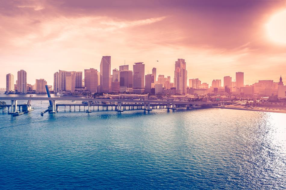D044 Miami, Downtown, Florida, brigde, USA City Poster Art Wall Pictures for Living Room Canvas Print(China (Mainland))