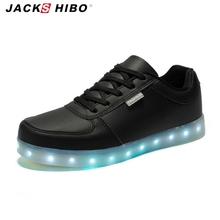 JACKSHIBO 2016 7 Colors Led Luminous Light unisex shoes USB led light up Shoes fashion low-upper men shoes women max size 5-10.5()