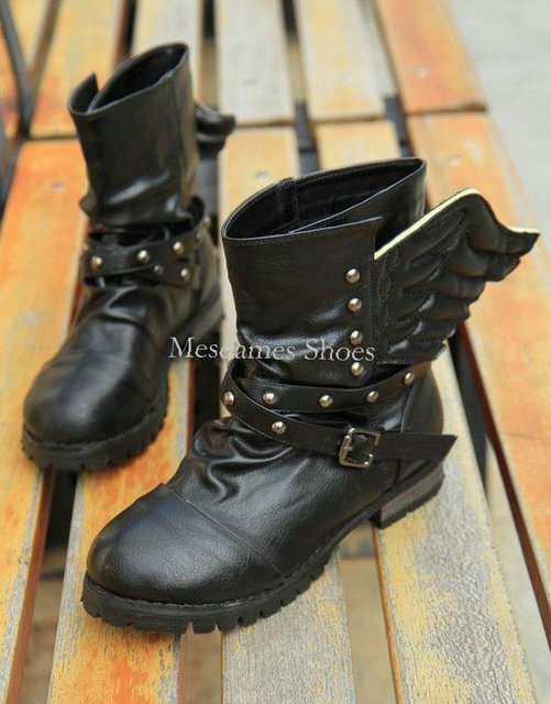 Free Shipping,Womens Boots Shoes,Black Punk Studded Angel Wing Cuban Low Heel Ankle Boots,US 5-8.5