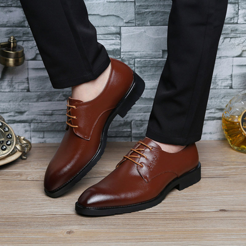 New 2016 Autumn Brand Designer Formal Men Dress Shoes Black/Brown Genuine Leather Business Shoes Men Flats Office Oxford Shoes 8(China (Mainland))