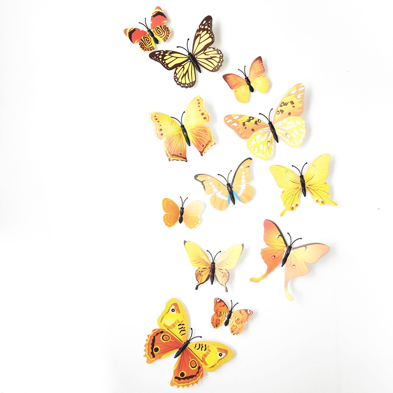12Pc 3D Butterflies On The Wall Stickers Home Decor Wall Poster Art Adhesive Sticker Wedding Decor Vinyl Wall Decals Muursticker