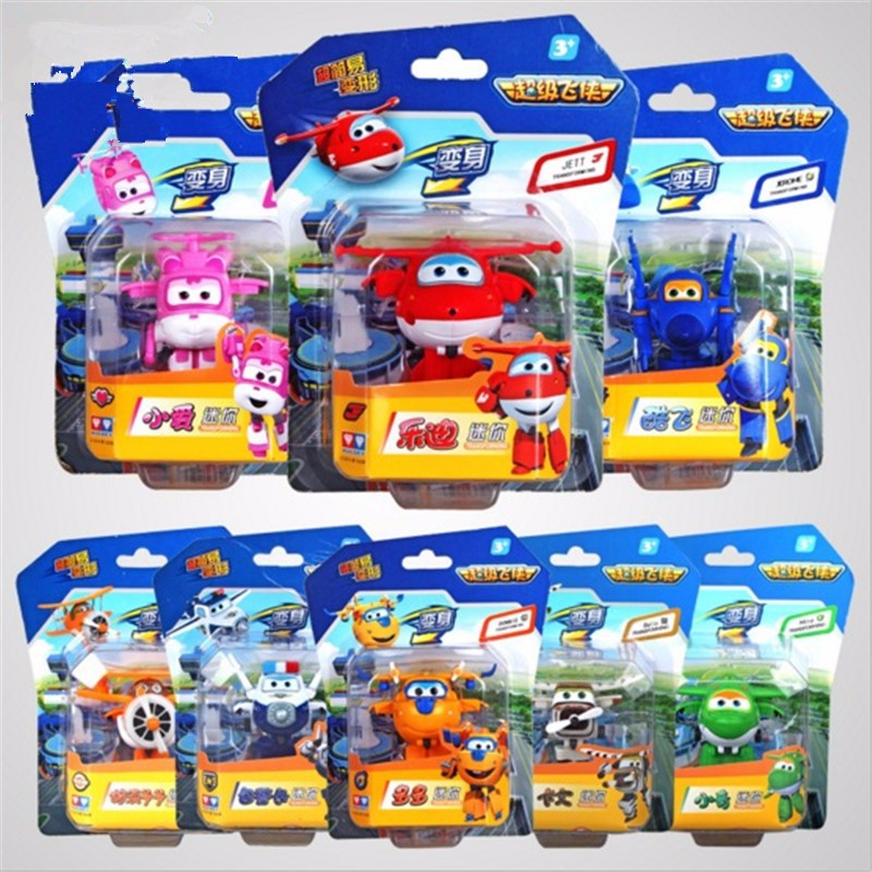 2016 8pcs Super Wings toys Mini Planes Model Transformation robot Deformation Airplane Robot Boys Christmas Birthday Gift <br><br>Aliexpress
