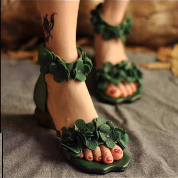 Vintage genuine leather handmade sandals female national flower womens trend shoes thick heel open toe shoes free shipping<br><br>Aliexpress