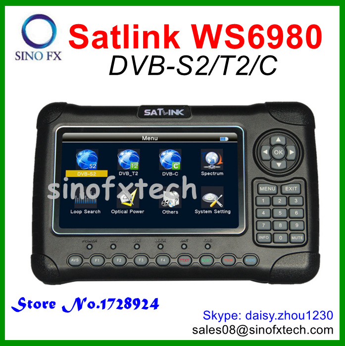 Original SATLINK WS-6980 7inch LCD DVB-S2+DVB-T2+DVB-C COMBO satellite finder MPEG4 HD Spectrum analyzer satfinder meter(China (Mainland))