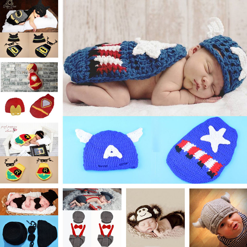 Baby Boy Captain America Photography Props Newborn Knitted Clothes Crochet Super Hero Photo Props 1set MZS-15042-J(China (Mainland))