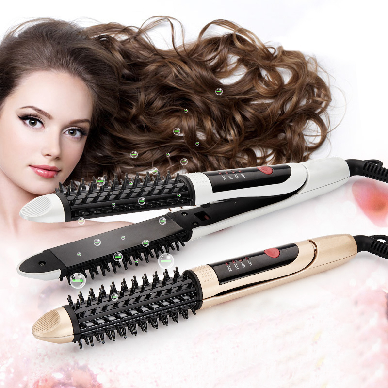 2 in 1 Hair curler straightener Ceramic Hair Curler Rollers Comb Electric Hair Brush Straightening Iron Brush hair straightener()