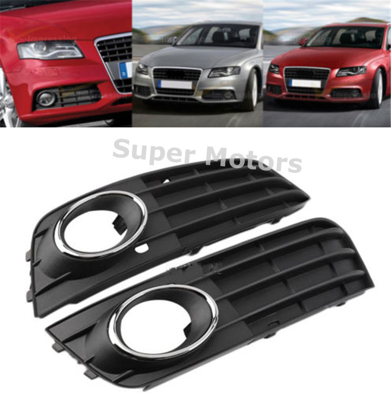Left & Right Black Car Front Bumper Grille Grill With Fog Light Cover For Audi A4 B8 A4L 2009 2010 2011 Non-sline(China (Mainland))