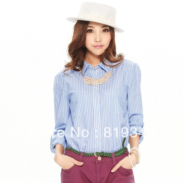VANCL Women Slim Long Sleeve Cotton Fabric Shirts Blue & White Striped Casual Blouse Chest Pocket Button Barrel FREE SHIPPING
