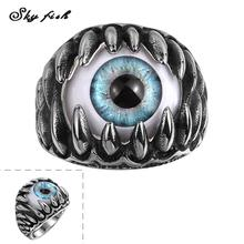 Skyfish 2016 Punk series Fashion Men's Ring The Punk Rock Accessories Stainless Steel Devil's Blue Pupil Rings For Men