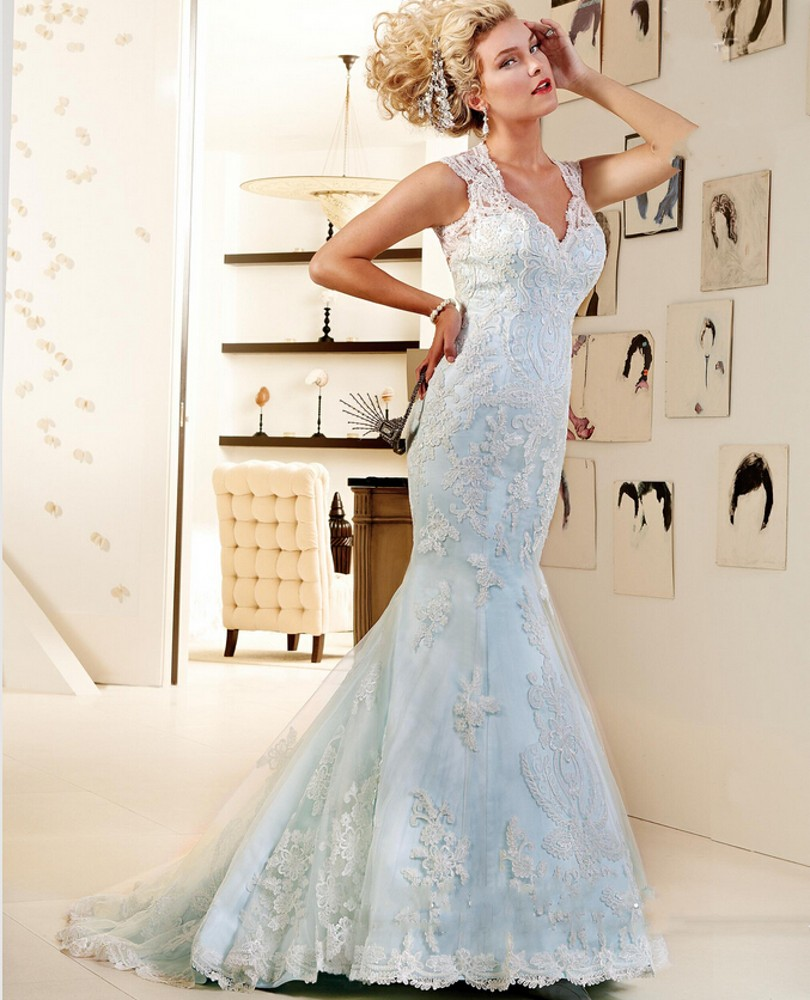 unique blue wedding dresses