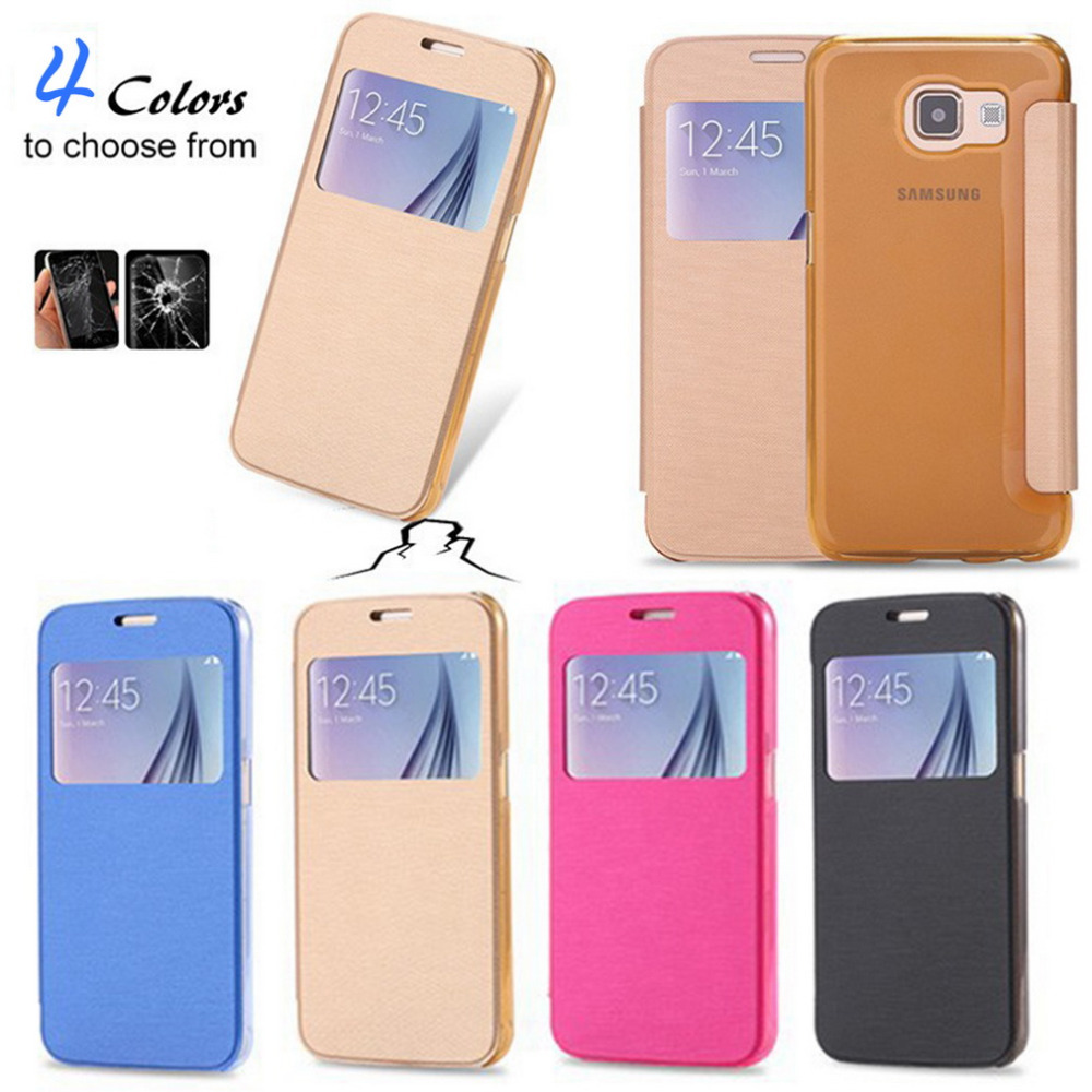 1pcs Luxury Flip Smart Leather View Window Skin Case Cover for Samsung Galaxy S6 Hot Worldwide(China (Mainland))