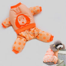 New Brand Orange Polka Dots Crown Dog Overall Pet Puppies Dog Clothes XS/S/M/L/XL Teddy Poodle Chihuahua Cat Winter Jackets Coat(China (Mainland))