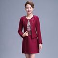 2016 Autumn Women Red Dress Suits Clothing Sets High Quality Luxury Fashion Mother Plus Size Elegant