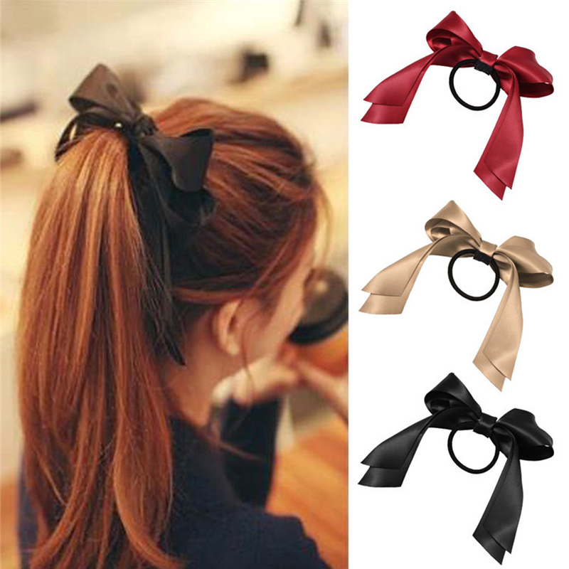 Hot 1Pc Women Tiara Satin Ribbon Bow Elastic Hair Band/Hair Tie Ring Rope Scrunchie Ponytail Holder Headbands Hair Accessories(China (Mainland))