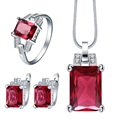 created red cz jewelry set for wedding bridal gift fashion 2017 women crystal necklace earring ring