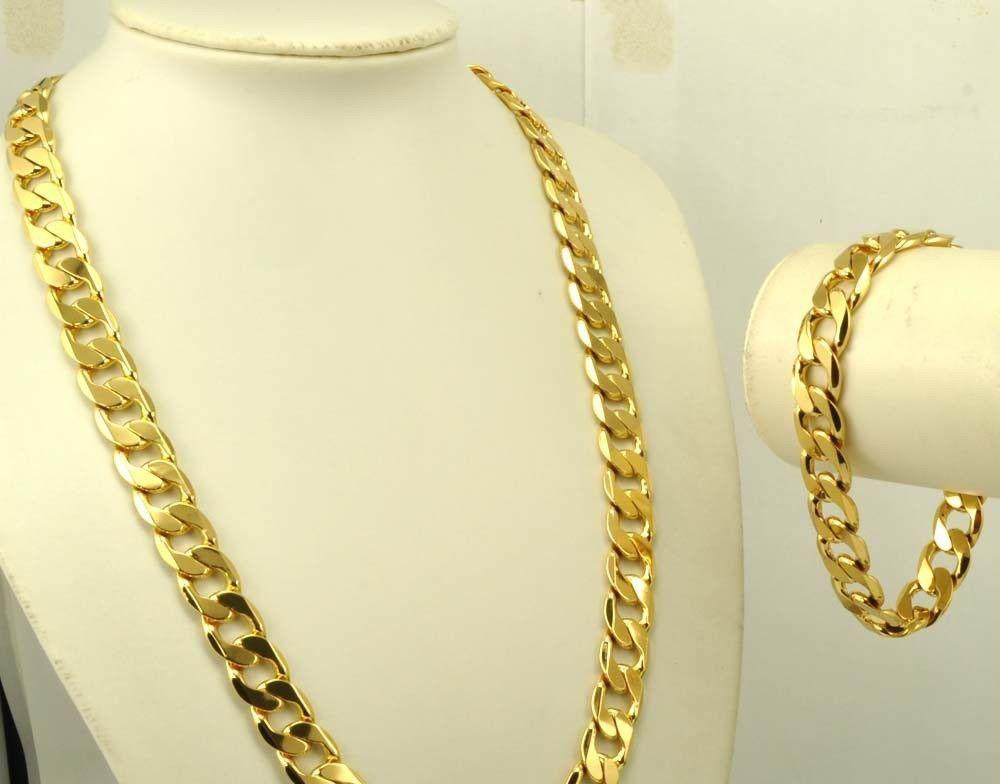 real 24k gold filled men 39 s bracelet necklace 23 6 10mm