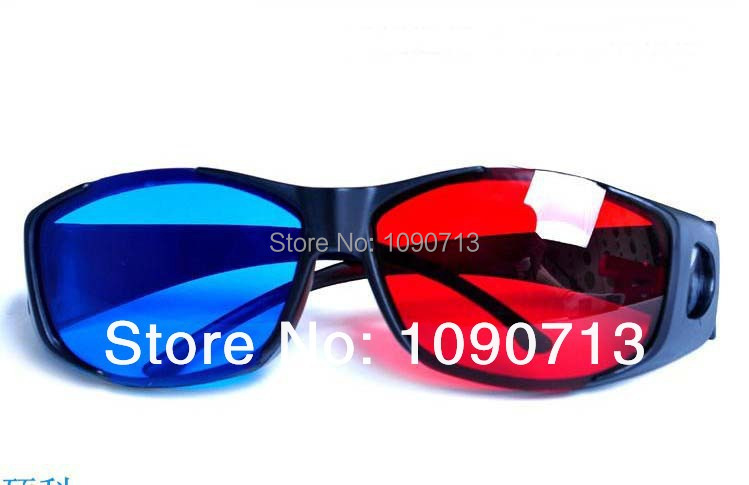Free shipping 2 Pairs/lot Universal Type 3D Glasses/Red Blue Cyan 3D Glasses Anaglyph NVIDIA 3D Vision Plastic Glasses(China (Mainland))