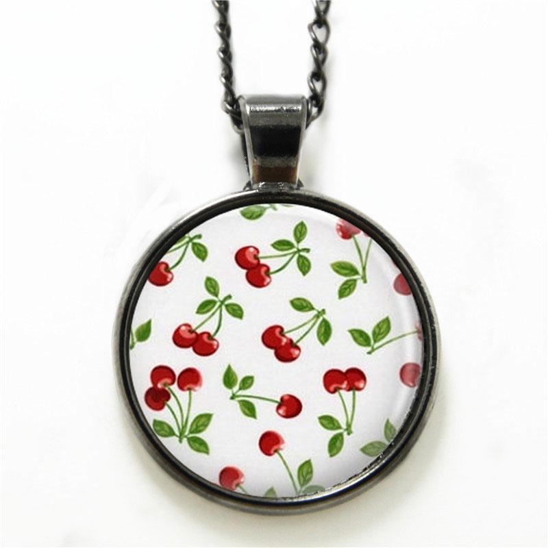 10PCS Cherry necklace Rockabilly Jewelry Red Cherries Art necklace Red print glass necklace(China (Mainland))