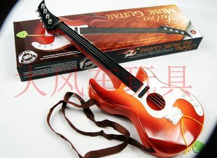 1X Orange  Drop Shipping Mini Orange Acoustic Guitar Toy For Beginners Practice Kids Boys & Girls Good Quality Free shipping