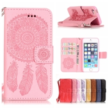 3D Luxury Dreamcatcher Leather Wallet Case for Apple iPhone 5 5S SE 5SE Stand Flip Case Card Holder Phone Protective Cover