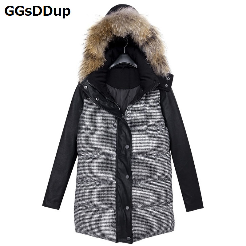 New womens cotton hooded thick warm coat big yards Houndstooth coat Y143Одежда и ак�е��уары<br><br><br>Aliexpress