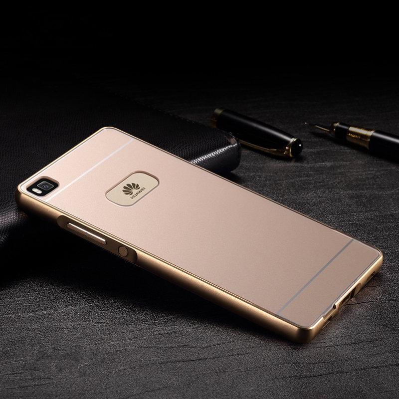 Huawei p8 lite case,alumium metal frame and pc back cover luxury hard case for huawei ascend p 8 lite 5.0 inch case gold(China (Mainland))