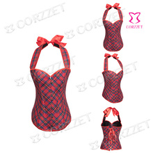 Gothic Red Plaid Halter-neck Overbust Sexy Corset Top Women Hot Shapers Corpete Corselet For Waist Training Corsets And Bustiers