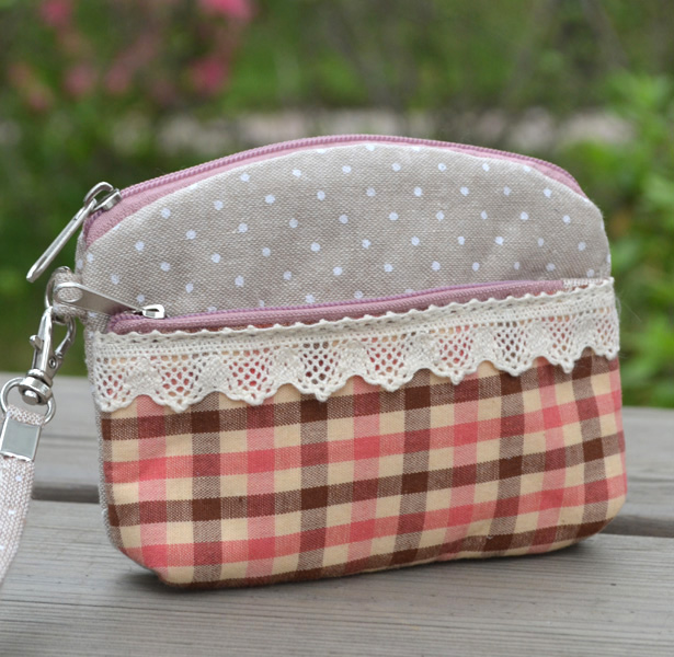 Female cloth coin purse small bags double zipper coin purse handmade bags birthday gift wallet(China (Mainland))