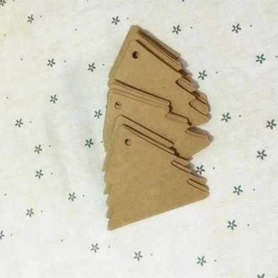 5.3*6cm xmas tree design blank kraft paper gift wrapping labels,merchandise tags,new year craft projects*100pcs(China (Mainland))