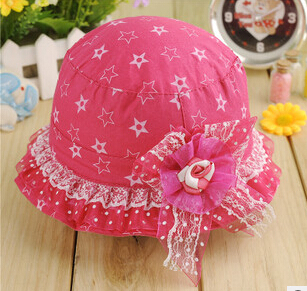 free shipping 1 pc summer 2015 baby girl cotton star buckets sun hats Korea style baby girls sun hat for 3-12M(China (Mainland))