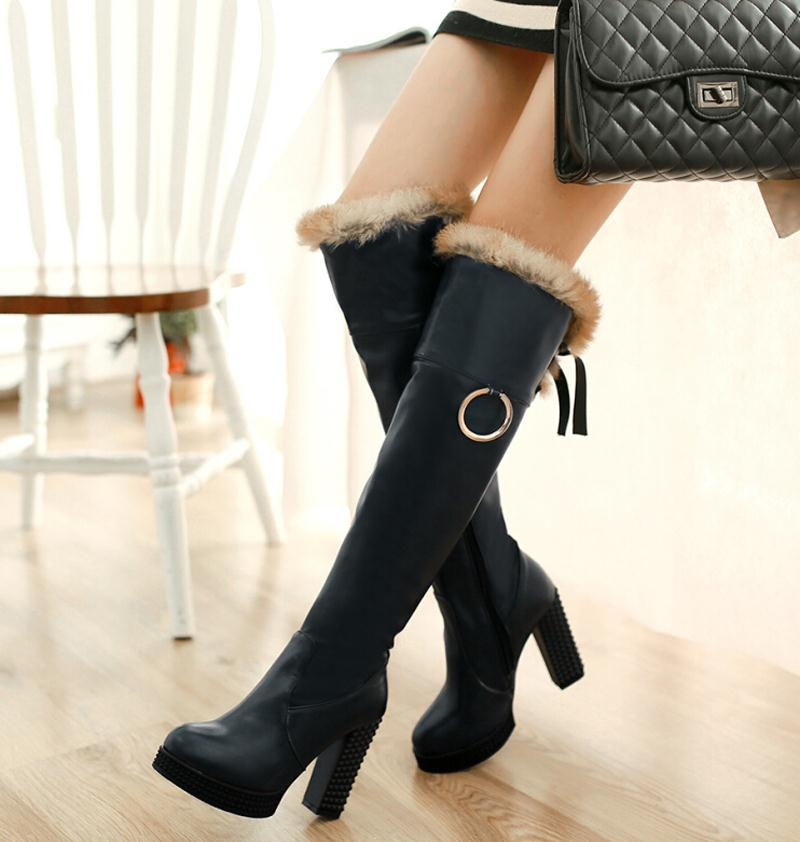 women boots Size 34-42 Concise Lace up Platform Height  Round Toe Knee High Boots Warm Shoes boots For Women<br><br>Aliexpress