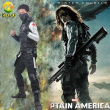 2014 New Hot Captain America 2 The Winter Soldier Bucky Barnes Outfit Mens Cosplay Costume Movie Superheros Uniform Cos