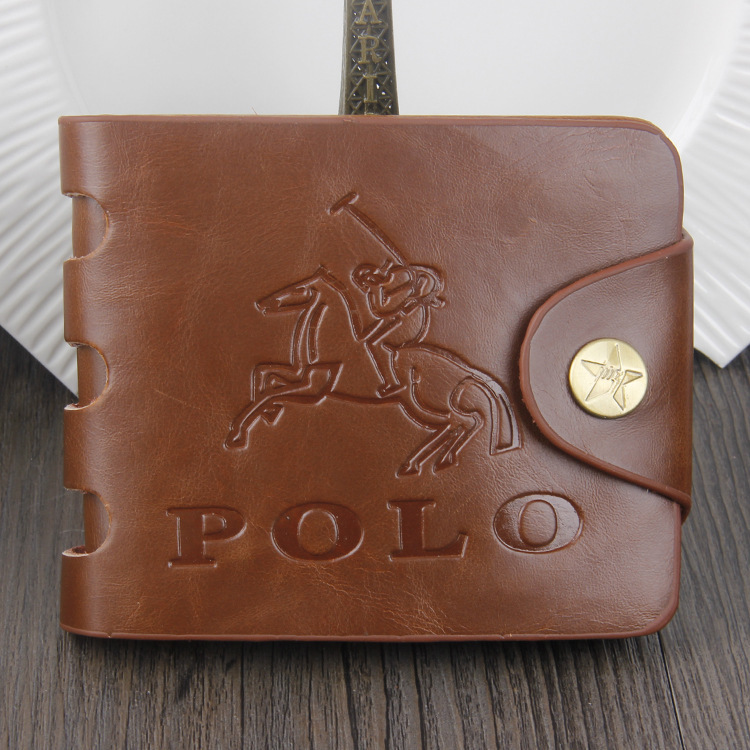 2015 Men s Brown Fashion PU Short Wallets Men Hasp bifold High grade Imitation Leather Wallets