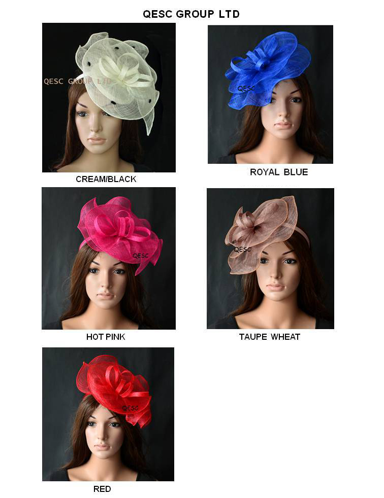 New arrival!Sinamay Fascinator hat hair accessory for Ascot races wedding kentucky derby church.red,ivory,wheat.(China (Mainland))