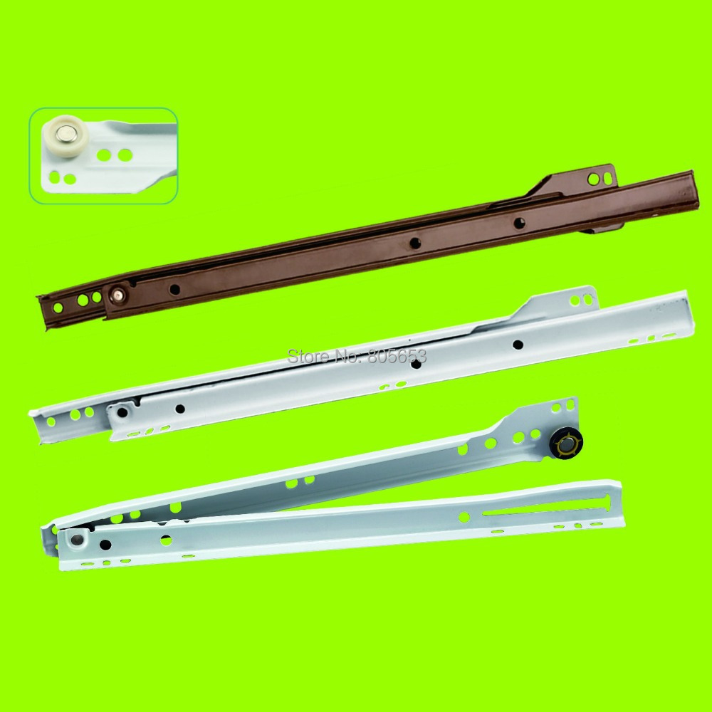 good quality 16'' metal bottom side mount wheel slide track set for cabinet drawer slide(DS7113-16)(China (Mainland))