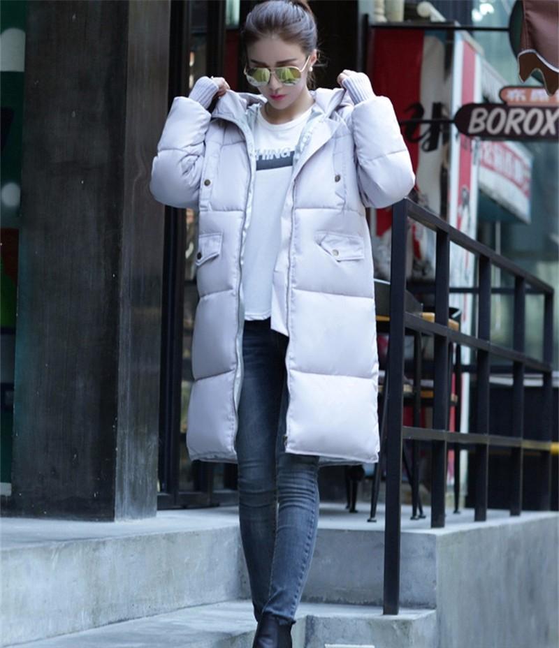 Скидки на 2016 Пуховик Женщин Новый Повседневная Любители Сгущает и Человек Длинные Участки Свободные Зимнее Пальто Теплый Утка Пуховик пальто