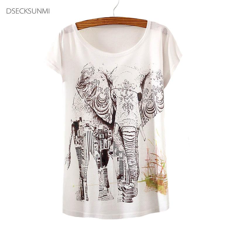 2016 Brand New Polyester T-Shirt Women Short Sleeve t-shirts o-neck Causal loose Elephant t shirt Summer top for women(China (Mainland))