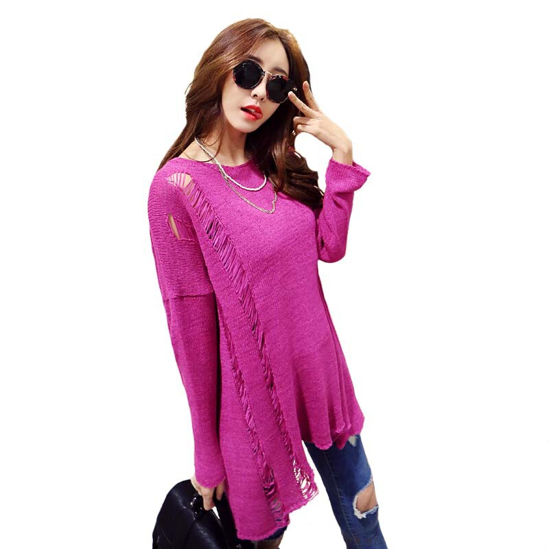 fashion 2015 autumn Hollow pullover knitted feminino women tops Casual sweater and pullovers mujer vetement femme woman clothes(China (Mainland))