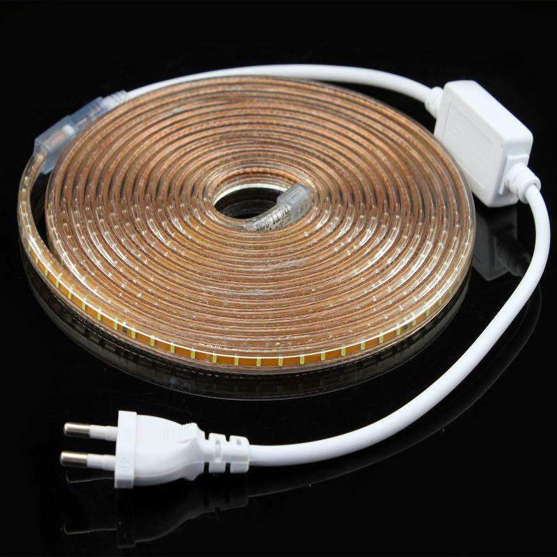 3014 LED strip 220V white/warm white Waterproof flexible SMD led strip 120leds/M 600leds/5M +Power supply plug(China (Mainland))