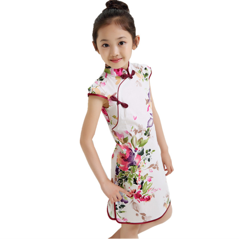 Summer Chinese Traditional Dress Vintage Floral Pattern Girls Dresses Cheongsam Wedding Party Costume Children Clothing 3-14Y(China (Mainland))