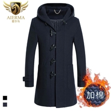 Hot-selling 2015 new arrival winter business casual hooded woolen coat High quality thick warm wool coat men Black,Navy M-3XL(China (Mainland))