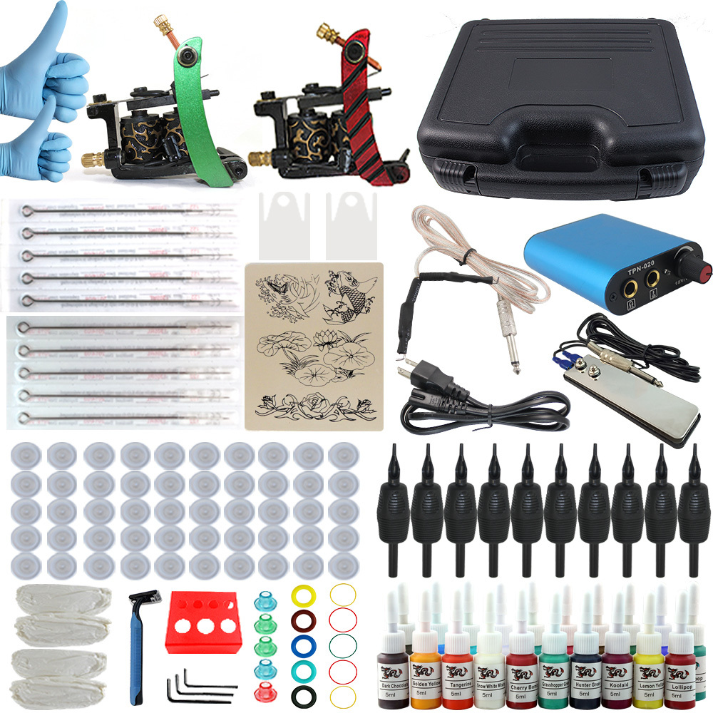 ITATOO Professional Beginner Tattoo Kit 2 Tatto Machine Set Starter Tattoo Machine Kit 10 ITATOO Needles 10 ITATOO Tube Inks(China (Mainland))