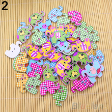 50pcs Lovely Sewing Cartoon Animal Wood Buttons 2 Holes Knopf Bouton