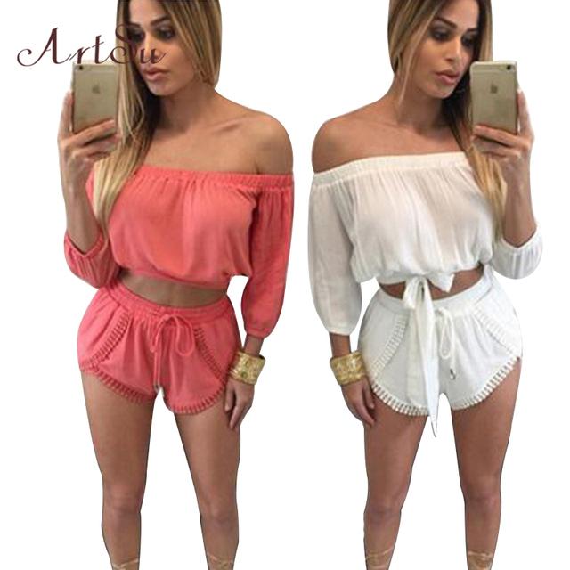 2016 Сексуальная с Плеча Лук Розовый Женщины Комбинезон Ползунки Мода Летний Пляж Белый Комбинезоны Случайные Двух Частей Комбинезон 905