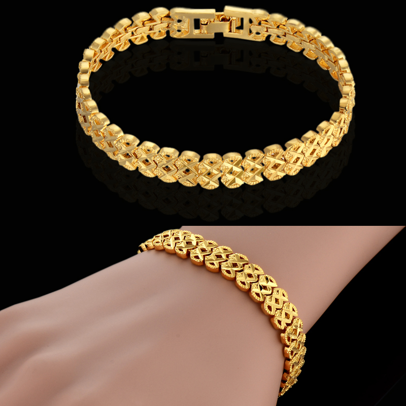 Aliexpress Luxury 18K Gold Plated Chain Link Bracelet For Women Men Vintage Gothic Jewelry Fit Original Bracelets Pulseira Gift(China (Mainland))